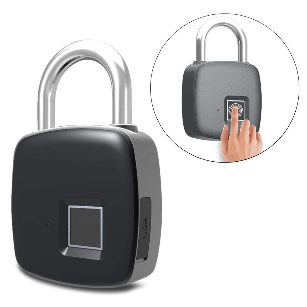 Bluetooth Fingerprint Smart Padlock, IP65 Waterproof Anti-theft Keyless Security Padlock Outdoor for Gym Door Backpack Luggage Suitcase Bike Office