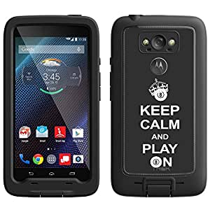 Skin Decal for LifeProof Motorola Droid Turbo Case - KEEP CALM And Play On - Pool on Black