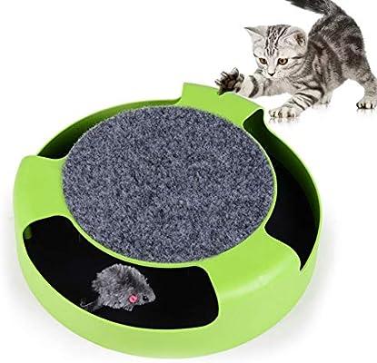 PJDDP Juguete para Gatos con Ratón Giratorio, Juguetes Interactivos para Gatos con Ratones para Correr Y Una Almohadilla para Rascar, Atrapa El Ratón, Juguete para Gatos Cat Scratcher, Verde: Amazon.es: Deportes y