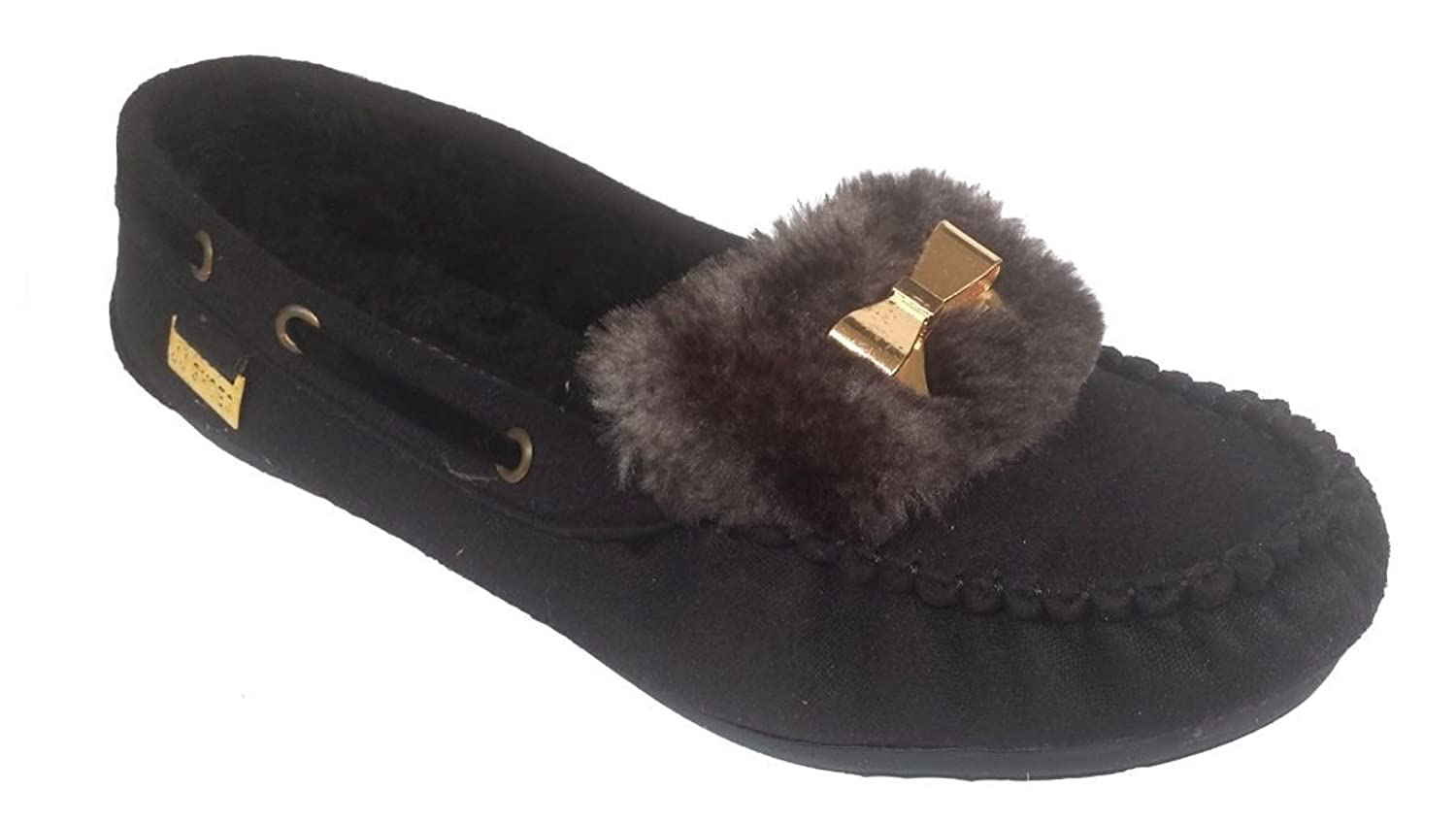 Elegant Women's Casual Faux Suede Black Moccasin Loafers With Bow