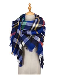 Soft Lightweight Plaid Scarf Blanket Acrylic Cashmere Feel and Elegant in Style Scarf