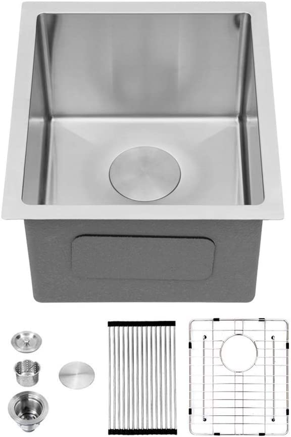 "Sarlai 15x17"" Kitchen Sink Undermount - Bar Prep Sink RV Camper Sinks Stainless Steel 16 Gauge R10 Tight Radius Deep Single Bowl Basin, Fit 18"" Cabinet"