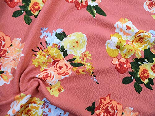 Printed Liverpool Textured Fabric 4 Way Stretch Dark Peach Mauve Yellow Blue Floral G703 ()