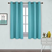 NICETOWN Grommet Room Darkening Curtains -Window Treatment Thermal Insulated Solid Drapes for Bedroom (Set of 2 Panels,42 by 63 Inch Long ,Turquoise Blue)
