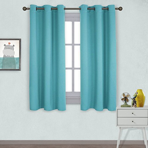 NICETOWN Window Treatment Thermal Insulated Solid Grommet Room Darkening Curtains / Drapes for Bedroom (Set of 2 Panels,42 by 63 Inch Long ,Turquoise Blue) (Tiffany Blue Curtain Panels)