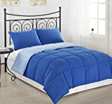 3 Piece Reversible Down Alternative Comforter Set Medium Weight, King/Cal King, Royal Blue/Light Blue