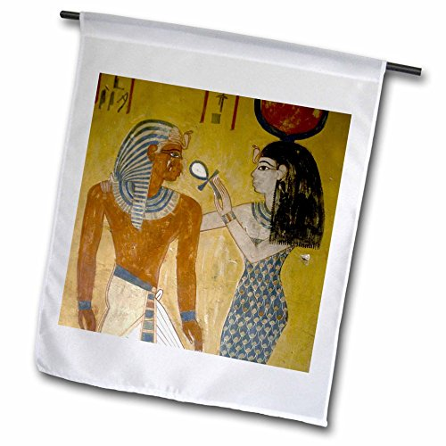 3dRose fl_82989_1 Egypt, Valley of The Kings, Wall Painting, Pharaohs Tomb-Hi01 Pri0013-Prisma Garden Flag, 12 by -