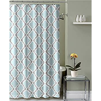 Light Aqua Grey White Embossed Fabric Shower Curtain: Moroccan Design