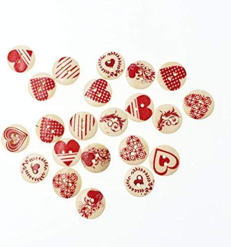 RTYW クラフトスクラップブッキングアクセサリー縫製がBotaoの15ミリメートル用品衣料装飾ボタンのミックスハートDIY木製ボタン (Color : Red)