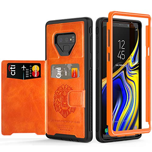 Samsung Galaxy Note 9 Case, SXTech Impact Resistant Protective Shell Galaxy Note 9 Wallet Cover Shockproof TPU Bumper Case Anti-Scratches Hard Cover Skin Card Slot Holder for Note 9[Orange+Black]