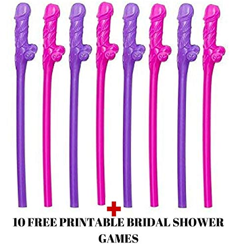 Bachelorette Party Straws and Games : 12 Pcs Bridal Shower Straws :Funny Bachelorette party Flavors Hen, Girls Night Out 12Units Per Set (FUNNY -