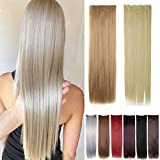 FUT 30inch 130g Straight 5 Clips in Synthetic Hair Pieces Extensions 3/4 Head for Girl Lady Women Bleach Blonde