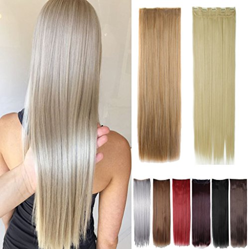 FUT 30inch 130g Straight 5 Clips in Synthetic Hair Pieces Extensions 3/4 Head for Girl Lady Women Light Brown