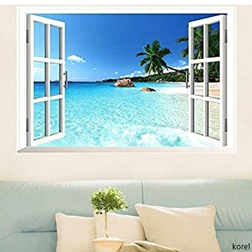 Korel Large Removable Beach Sea 3d Window Decal Wall Sticker Home Decor Exotic Beach View Art