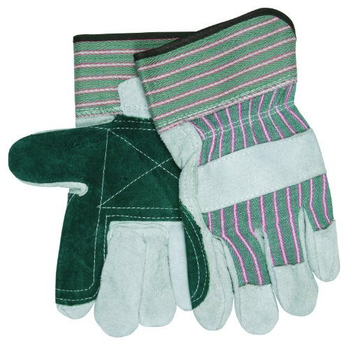 MCR Safety 1230IDPS Economy Shoulder Inside Double Palm Men's Gloves with Fleece Lining, Green/Natural, Small, 1-Pair