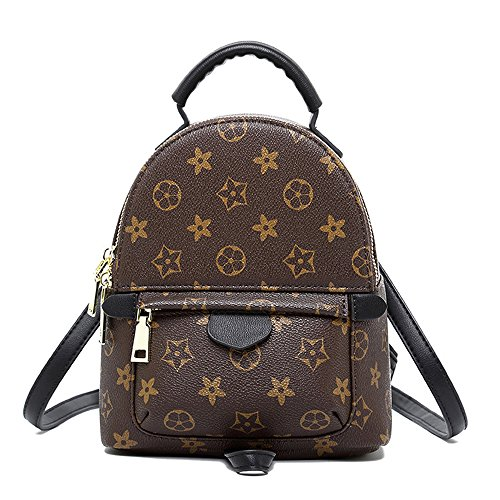 Olyphy Designer Mini Leather Backpack Purse for Women, Fashion Small Shoulder Purse Handbag (Brown)