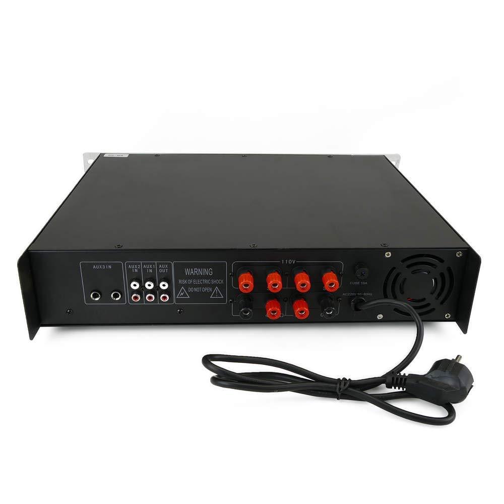 Cablematic - Amplificador para sonorización profesional de 180W 110V 4 zonas con MIC AUX MP3 rack: Amazon.es: Electrónica