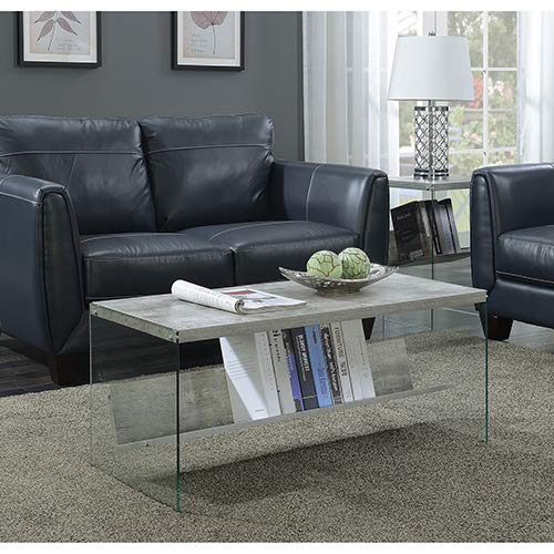 Convenience Concepts SoHo Coffee Table, Faux Birch / Glass (Acrylic Coffee Table)