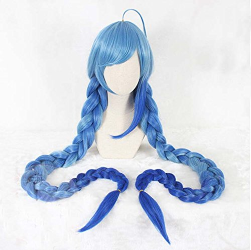 53-Inch Blue Ombre Straight Wig with Double Long Plait Braids Ponytail Movie Character Anime Harajuku Cosplay (Easy Anime Characters To Cosplay)