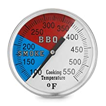 "Chef's Star 2"" 550F BBQ Charcoal Grill Pit Wood Smoker Temperature Gauge Thermometer 2.5"" STEM, 1/2"" NPT STM SS RWB"