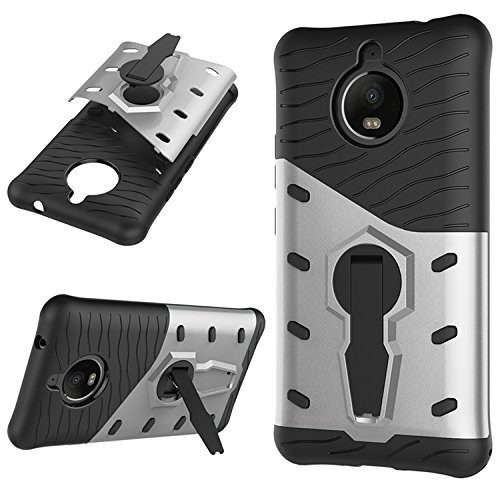 Price comparison product image Moto E4 Plus Case, SUNWAY [Armor Series] [European Version]Matting PC + Input TPU Shockproof Protective Cover Case with 360 Degree Rotating Stand Ring Holder for Moto E4 Plus - Silver
