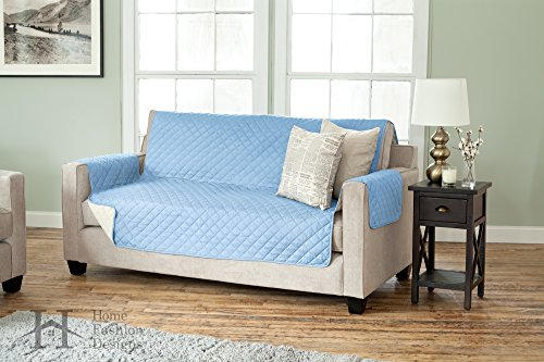 "Home Fashion Designs Reversible Furniture Protector, Sofa, Marine Blue/Linen - Perfect for homes with kids and pets Protects from spills, stains, wear and tear Sofa measures 75"" x 110"" (fits most sofas 96"" long arm to arm), love seat measures 75"" x 88"" (fits most love seats 73"" long arm to arm) - sofas-couches, living-room-furniture, living-room - 51NQ0mI1WoL -"