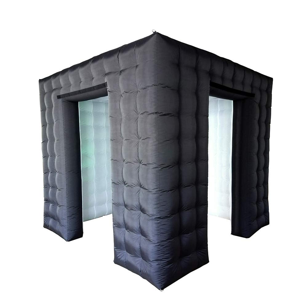 Inflatable Portable Photo Booth Enclosure - Black Air Photo Booth Cube with Led Lights and Inner Air Blower for Party, Wedding, Birthday, Great Photobooth Backdrop Decoration