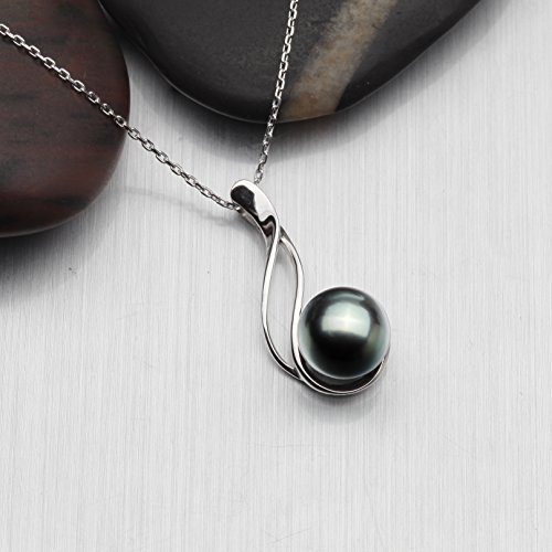 Tahitian Cultured Black Pearl Pendant Necklace 9-10mm Round Sterling Silver Anniversary Gifts for Women – VIKI LYNN