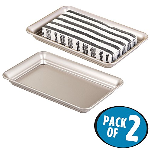 mDesign Metal Storage Organizer Tray for Bathroom Vanity Countertops, Closets, Dressers - Holder for Guest Hand Towels, Watches, Earrings, Makeup Brushes, Reading Glasses, Perfume - Pack of 2, Satin ()