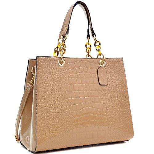 Dasein Patent Faux Leather Croco Embossed Chain Strap Satchel