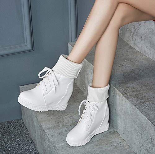 Cordones Boots Estilo Tacón Mujer Shinik Modelo Nuevo 2018 Blanco Otoño Zapatillas Alto Martin De Con Universitario Invierno pnOZqU
