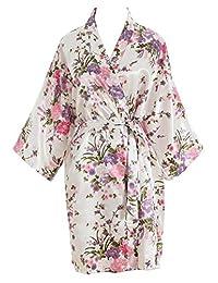 Luxurysmart Cherry Blossoms Floral Kimono Robe Silk Nightgown Bridesmaid Robe/Wedding Robe
