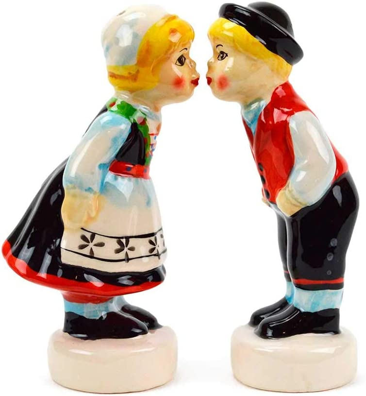 Norwegian Kissing Couple Collectible Ceramic Salt and Pepper Shakers Set by E.H.G