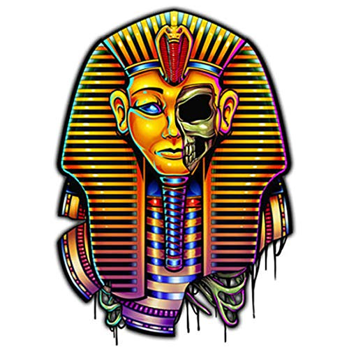Laser Temporary Tattoo Egyptian Pharaoh Mummy Skeleton Shiny Laser Foil Body -