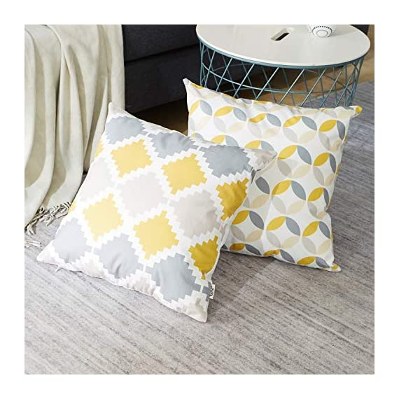Top Finel Square Decorative Throw Pillow Covers Soft Microfiber Outdoor Cushion Covers 18 x 18 for Couch Sofa Bedroom, Set of 6, Grey & Yellow - SUPER PLUSH MATERIAL & SIZE: Made of ultra soft microfiber, comfortable to touch and lay on. 18 X 18 Inch per pack, included 6 packs per set, NO PILLOW INSERTS. WORKMANSHIP: Delicate hidden zipper closure was designed to meet an elegant look. Tight zigzag over-lock stitches to avoid fraying and ripping. NO PECULIAR SMELL: Because of using environmental and high quality ultra soft fabric,our throw pillow cases are the perfect choice for those suffering from asthma, allergen, and other respiratory issues. - patio, outdoor-throw-pillows, outdoor-decor - 51NQ1OeVsmL. SS570  -