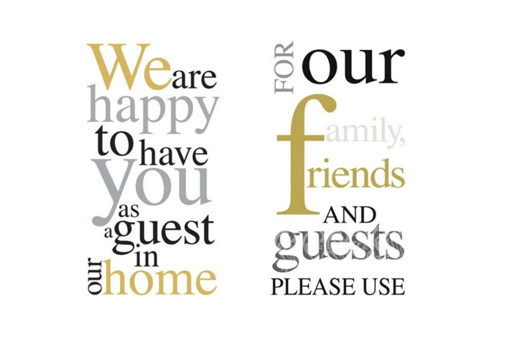 Guest Towel Bundle in Gold, Silver, Black: Includes (1) 16 count We are happy to have you as a guest in our home and (1) 16 count For our family, friends and guests PLEASE USE by TLP Party