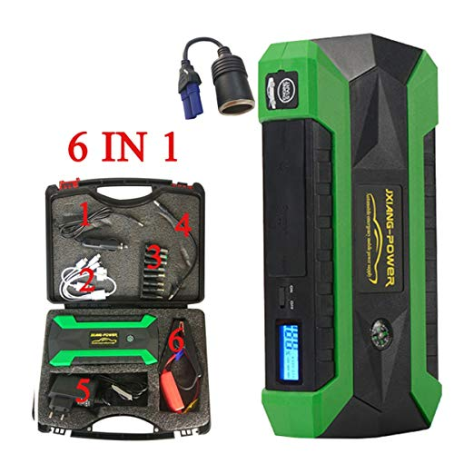 68000mWh 60C Discharge Car Jump Starter 600A Peak Current Starting Power Bank Diesel Auto Battery Portable Pack Booster Device,Green