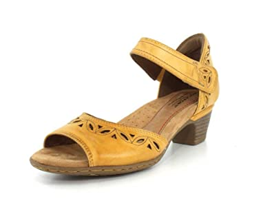 8b7f58f0cfbcb Rockport Cobb Hill Collection Women's Cobb Hill Abbott Two-Piece Ankle  Strap Yellow Leather 6