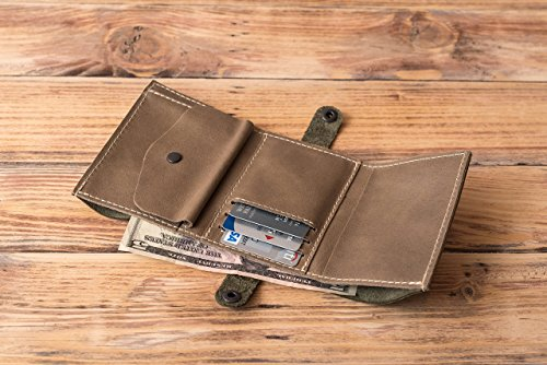 Greige Button - Olive Green and Greige Genuine Leather Trifold Wallet Father's Day Gift for Him
