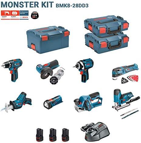 GSR 12V-15 + GDR 12V-105 + GKS 12V-26 + GWS 12V-76 + GST 12V-70 + GOP 12V-LI + GSA 12V-14 + GLI 12V-80 + 3 x 2,0Ah + AL1230CV + L-Boxx 238 + L-Boxx 136 + L-Boxx 102 BOSCH Kit 12V BMK8BD3