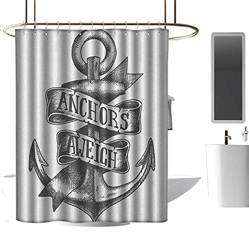 - TimBeve Shower Curtain for Bathroom Anchor,Tattoo Style Navy Symbol Sketch with Ribbon and Vintage Lettering Insignia, Charcoal Grey White,Metal Rust Proof Grommets Bathroom Curtain 72