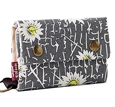 YaJaMa Women Girls Small Foldable Wallet Canvas Coins Purse with Keyring Key Wallet Grey Size: Small