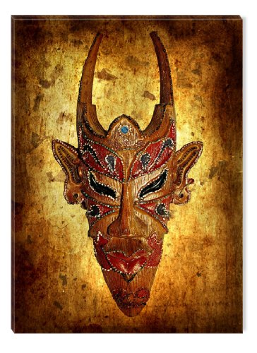 Startonight Wall Art Canvas African Mask with Horns, African USA Design for Home Decor, Dual View Surprise Artwork Modern Framed Ready to Hang Wall Art 23.62 X 35.43 Inch 100% Original Art (Halloween Decor Hobby Lobby)