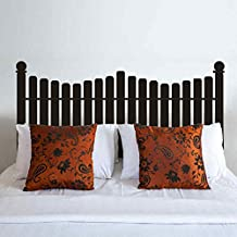 BATTOO Headboard Wall Decal Picket Fence style for Twin Full Queen King Size Bed Vinyl Wall Decal Sticker(Dark Brown, Twin)