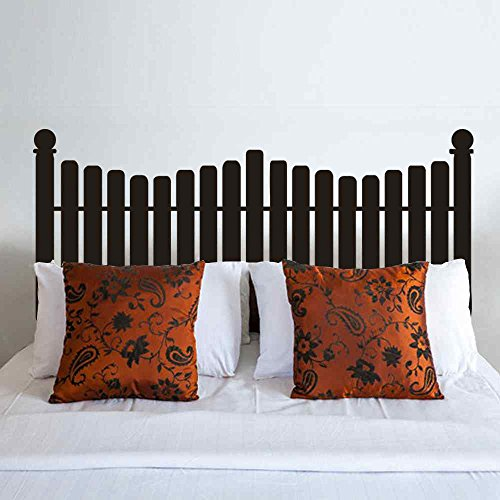 BATTOO Headboard Wall Decal Picket Fence style for Twin Full Queen King Size Bed Vinyl Wall Decal Sticker(white, King)