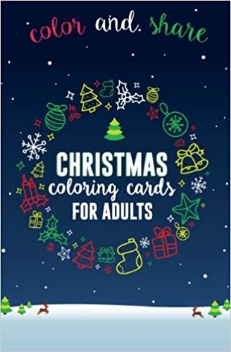 amazoncom christmas coloring cards for adults adult coloring cards to color and share for christmas postcard coloring book christmas mini coloring