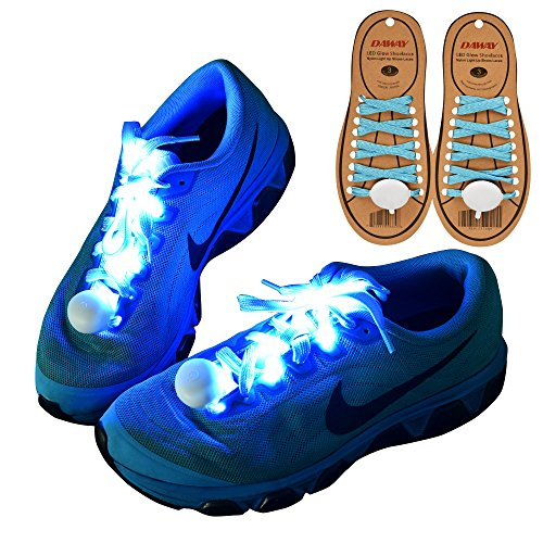 DAWAY Z02 LED Light Up Shoelaces - Nylon Glow Shoes Laces with 3 Flashing Modes, Cool Safety Accessories for Party Dancing Hip-hop Cycling Running, Xmas Gifts for Boy Girl Men Women, Blue