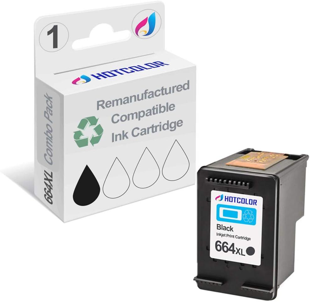 HOTCOLOR 664XL Black Ink Cartridge Work for HP DeskJet Ink Advantage 1115 2136 3636 3836 4536 4676 Printer (1-Pack)