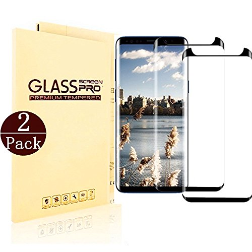 (Black) Samsung Galaxy S9 Screen Protector, LuettBiden [2 – Pack] Half Screen Tempered Glass Screen Protector [Case Friendly] [Anti-Scratch][Anti-Fingerprint][Bubble Free] for Samsung Galaxy S9