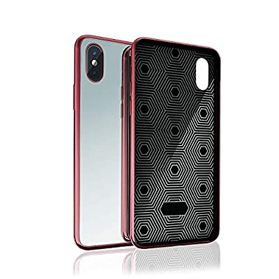 Kitoo iPhone 6 / iPhone 6S Mirror Case with Anti-Scratch 9H Tempered Glass and Soft TPU Bumper, Shockproof, Wireless Charging Compatible - for iPhone 6 / iPhone 6S - Black